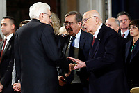 President of the Republic Sergio Mattarella and former President of the Republic Giorgio Napolitano<br /> Rome December 19th 2018. Quirinale. Traditional exchange of Christmas wishes between the President of the Republic and the institutions.<br /> Foto Samantha Zucchi Insidefoto