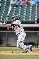 Tennessee Smokies outfielder Anthony Giansanti (9) at bat during a game against the Birmingham Barons on April 21, 2014 at Regions Field in Birmingham, Alabama.  Tennessee defeated Birmingham 10-5.  (Mike Janes/Four Seam Images)