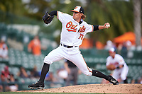 Baltimore Orioles relief pitcher Jed Bradley (73) delivers a pitch during a Spring Training exhibition game against the Dominican Republic on March 7, 2017 at Ed Smith Stadium in Sarasota, Florida.  Baltimore defeated the Dominican Republic 5-4.  (Mike Janes/Four Seam Images)