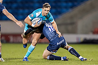 8th January 2021; AJ Bell Stadium, Salford, Lancashire, England; English Premiership Rugby, Sale Sharks versus Worcester Warriors; Ashley Beck of Worcester Warriors is tackloed by AJ Macginty of Sale Sharks