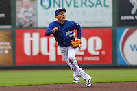 Iowa Cubs infielder Munenori Kawasaki (1) breaks after a fly ball during a Pacific Coast League game against the Colorado Springs Sky Sox on May 1st, 2016 at Principal Park in Des Moines, Iowa.  Colorado Springs defeated Iowa 4-3. (Brad Krause/Four Seam Images)