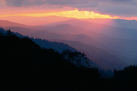 Oconaluftee River Valley at sunrise<br />   from Newfound Gap Road<br /> Great Smoky Mountains National Park<br /> North Carolina