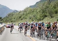 Daryl Impey (ZAF/Mitchelton-Scott) narrowly escaping a gnarly crash after hitting a 'road-bump-reflector' (or whatever that was...)<br /> <br /> Stage 6: Saint-Vulbas to Saint-Michel-de-Maurienne (228km)<br /> 71st Critérium du Dauphiné 2019 (2.UWT)<br /> <br /> ©kramon