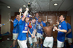 St Johnstone v Dundee United....17.05.14   William Hill Scottish Cup Final<br /> Stevie May, Steven MacLean and Gary MacDonald lead the celebrations with champagne in the dressing room<br /> Picture by Graeme Hart.<br /> Copyright Perthshire Picture Agency<br /> Tel: 01738 623350  Mobile: 07990 594431