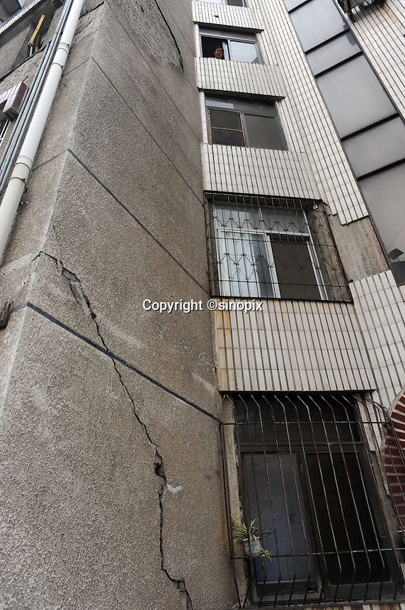 Buildings are cracked in the Huang Gu Po district of Badong on the lower reaches of the Three Gorges Dam.  Several of the new cities are suffering from structural damage due to land and earth movements caused by the 400 km Three Gorges reservoir.<br /> <br /> PHOTO BY RICHARD JONES-SINOPIX