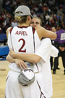 SACRAMENTO, CA - MARCH 29: Jeanette Pohlen with Jayne Appel after Stanford's 55-53 win over Xavier in the NCAA Women's Basketball Championship Elite Eight on March 29, 2010 at Arco Arena in Sacramento, California.
