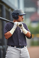 GCL Yankees West first baseman Miguel Flames (62) on deck during the first game of a doubleheader against the GCL Yankees East on July 19, 2017 at the Yankees Minor League Complex in Tampa, Florida.  GCL Yankees West defeated the GCL Yankees East 11-2.  (Mike Janes/Four Seam Images)