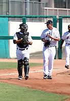Tony Sanchez (L), Brad Holt (R) - Mesa Solar Sox - 2010 Arizona Fall League.Photo by:  Bill Mitchell/Four Seam Images..