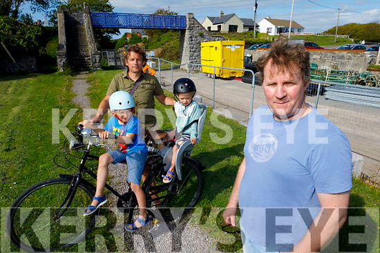 Members of the Fenit Community who have concerns that the work has stopped on the Tralee to Fenit Greenway and may not resume till 2021.<br /> Front right: Mike O'Neill.<br /> Back: Éanna and Naoise Phelan with their dad Keith.