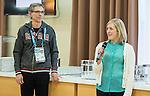 Sochi, RUSSIA - Mar 9 2014 -  Canadian Paralympic Committee President Gaetan Tardiff and Heather Mondin speak at the Petro-Canada Sochi 2014 Family & Friends reception at Canada Paralympic House at the 2014 Paralympic Winter Games in Sochi, Russia.  (Photo: Matthew Murnaghan/Canadian Paralympic Committee)
