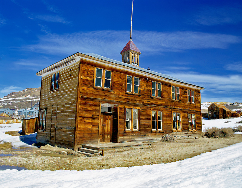 Old Schoolhouse in snow. Ghost town of Bodie, California