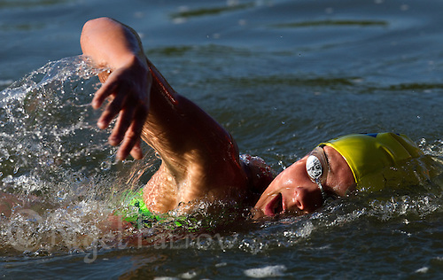 27 MAY 2012 - MADRID, ESP - A competitors during the swim of the Spanish Elite Women's National Sprint Distance Championship qualifying race at Casa de Campo in Madrid, Spain .(PHOTO (C) 2012 NIGEL FARROW)