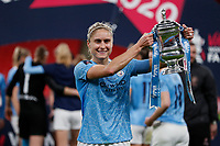 1st November 2020; Wembley Stadium, London, England; Womens FA Cup Final Football, Everton Womens versus Manchester City Womens; Steph Houghton of Manchester City Women poses with the Womens FA Cup Final Trophy
