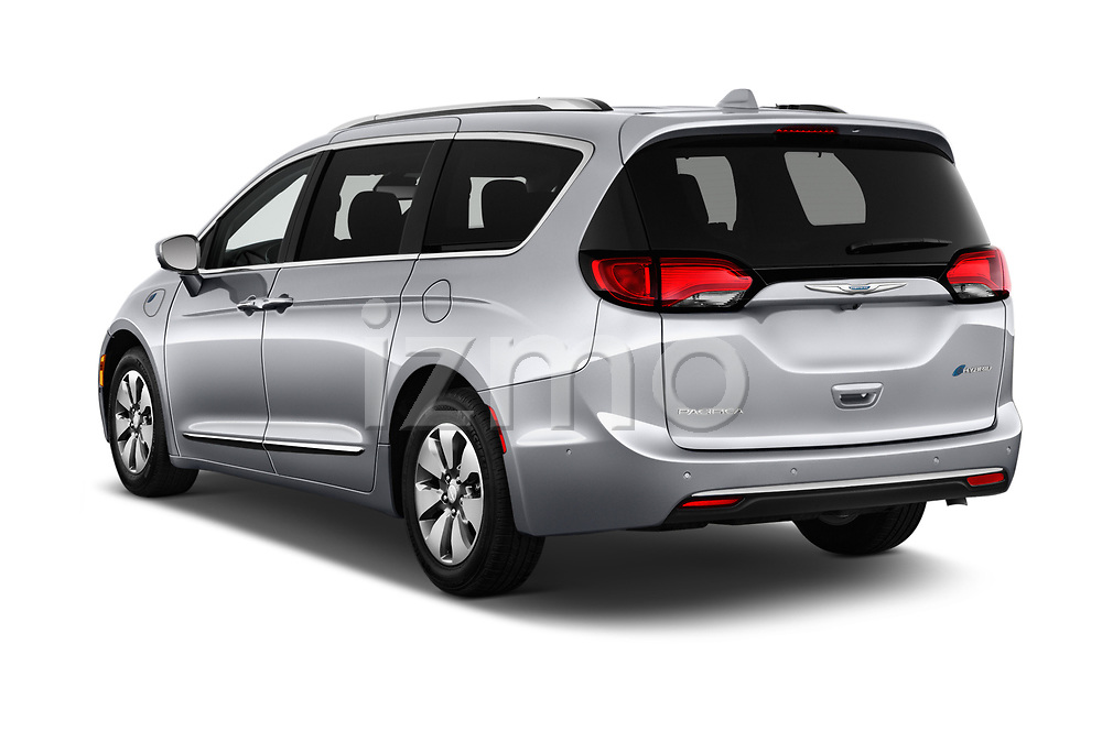 Car pictures of rear three quarter view of a 2019 Chrysler Pacific Hybrid Limited 5 Door Mini Van angular rear