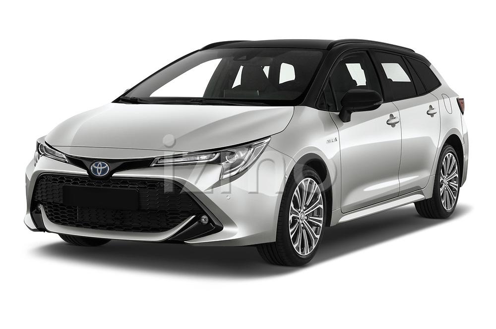 2019 Toyota Corolla-TS-hybrid Style 5 Door Wagon Angular Front stock photos of front three quarter view
