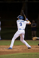 AZL Dodgers first baseman Aaron Ackerman (9) at bat during an Arizona League game against the AZL White Sox at Camelback Ranch on July 3, 2018 in Glendale, Arizona. The AZL Dodgers defeated the AZL White Sox by a score of 10-5. (Zachary Lucy/Four Seam Images)
