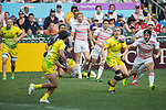 England vs Australia during their Pool A match as part of the HSBC Hong Kong Rugby Sevens 2017 on 08 April 2017 in Hong Kong Stadium, Hong Kong, China. Photo by Chris Wong / Power Sport Images