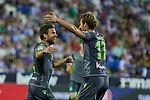 Real Sociedad's Asier Illarramendi (l) and David Zurutuza (r) celebrate goal during La Liga match. August 24, 2018. (ALTERPHOTOS/A. Perez Meca)