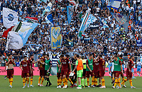 Roma players celebrate at the end of the Italian Serie A football match between Roma and Lazio at Rome's Olympic stadium, September 29, 2018. Roma won 3-1.<br /> UPDATE IMAGES PRESS/Riccardo De Luca