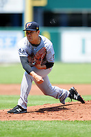New York Yankees pitcher Masahiro Tanaka (19) delivers a pitch during his rehabilitation start with the Scranton/Wilkes-Barre RailRiders versus the Pawtucket Red Sox at McCoy Stadium on May 27, 2015 in Pawtucket, Rhode Island.  (Ken Babbitt/Four Seam Images)