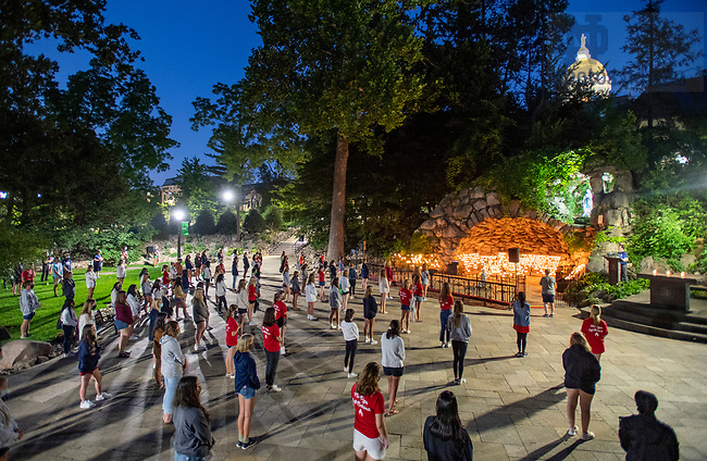 August 6, 2020; First Visit to the Grotto - Welcome Week (Photo by Barbara Johnston/University of Notre Dame)