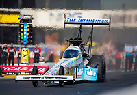 Feb 7, 2020; Pomona, CA, USA; NHRA top fuel driver Justin Ashley during qualifying for the Winternationals at Auto Club Raceway at Pomona. Mandatory Credit: Mark J. Rebilas-USA TODAY Sports