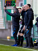 21st April 2021; Easter Road, Edinburgh, Scotland; Scottish Premiership Football, Hibernian versus Livingston; David Martindale manager of Livingston on the touchline
