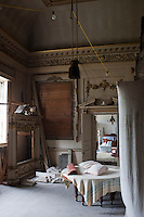 The once gracious drawing room is now a hive of activity as the restoration gets underway