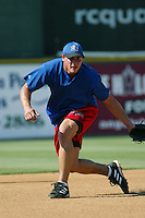 Dallas McPherson of the Rancho Cucamonga Quakes takes infield before a game at The Epicenter on July 3, 2003 in Rancho Cucamonga, California. (Larry Goren/Four Seam Images)