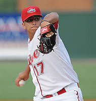 RHP Yeiper Castillo (17) of the Greenville Drive in a game on May 20, 2010, at Fluor Field at the West End in Greenville, S.C. Photo by: Tom Priddy/Four Seam Images
