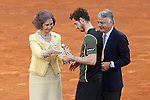 Andy Murray, Great Britain celebrates the victory in the Madrid Open Tennis 2015 in presence of Queen Sofia of Spain and the Mutua Madrilena's President Ignacio Garralda. May, 10, 2015.(ALTERPHOTOS/Acero)