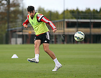 Pictured: Jack Cork crosses the ball Thursday 07 May 2015<br /> Re: Swansea City FC training at Fairwood training ground, south Wales, UK