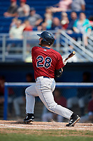 Mahoning Valley Scrappers designated hitter Simeon Lucas (28) pops out during the first game of a doubleheader against the Batavia Muckdogs on September 4, 2017 at Dwyer Stadium in Batavia, New York.  Mahoning Valley defeated Batavia 4-3.  (Mike Janes/Four Seam Images)