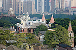 View From The Roof Of The Victory Hotel, Shamian (Shameen) Island, Guangzhou (Canton).  Custom House (Top Left), Customs Senior Staff Quarters & Club (Centre) And Our Lady Of Lourdes Church (Bottom Right).