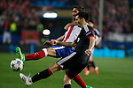 Atletico de Madrid´s Raul Garcia (L) during the UEFA Champions League round of 16 second leg match between Atletico de Madrid and Bayer 04 Leverkusen at Vicente Calderon stadium in Madrid, Spain. March 17, 2015. (ALTERPHOTOS/Victor Blanco)