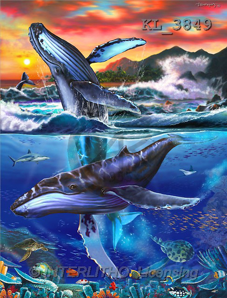 Interlitho, Lorenzo, FANTASY, paintings, 2 whales, KL, KL3849,#fantasy# illustrations, pinturas
