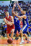 Dominic Robert Gilbert #11 of SCAA Men's Basketball Team (L) in action against Marcus Ryan Elliott #2 of Eastern Long Lions  (C) during the Final of Hong Kong Basketball League 2018 match between SCAA v Eastern Long Lions on August 10, 2018 in Hong Kong, Hong Kong. Photo by Marcio Rodrigo Machado/Power Sport Images