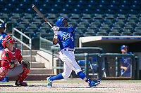 Kansas City Royals center fielder Khalil Lee (15) follows through on his swing during an Instructional League game against the Cincinnati Reds on October 2, 2017 at Surprise Stadium in Surprise, Arizona. (Zachary Lucy/Four Seam Images)