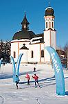 Austria, Tyrol, international Wintersport Resort Seefeld: Start and Finish of Cross-Country ski run at church Seekirchl