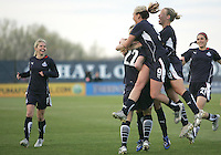 Becky Sauerbrunn of the Washington Freedom is congratulated after scoring  during a WPS match against the Chicago Red Starsat Maryland Soccerplex on April 11 2009, in Boyd's, Maryland. The game ended in a 1-1 tie