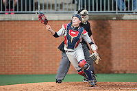 Florida Atlantic Owls catcher Ryan Miller (7) chases after a foul fly ball during the game against the Charlotte 49ers at Hayes Stadium on March 14, 2015 in Charlotte, North Carolina.  The Owls defeated the 49ers 8-3 in game one of a double header.  (Brian Westerholt/Four Seam Images)