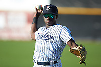 Jordan Scott (66) of the Pulaski Yankees warms up in the outfield prior to the game against the Greeneville Reds at Calfee Park on June 23, 2018 in Pulaski, Virginia. The Reds defeated the Yankees 6-5.  (Brian Westerholt/Four Seam Images)