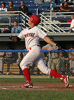 June 27, 2003:  third baseman Marc Tugwell of the Batavia Muckdogs during a game at Dwyer Stadium in Batavia, New York.  Photo by:  Mike Janes/Four Seam Images