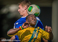 28 September 2013: University of Vermont Catamount Forward Bernard Yeboah, a Freshman from Worcester, MA, in action against the Hartwick College Hawks at Virtue Field in Burlington, Vermont. The Catamounts shut out the visiting Hawks 1-0. Mandatory Credit: Ed Wolfstein Photo *** RAW (NEF) Image File Available ***