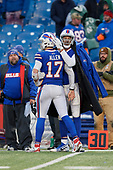 Buffalo Bills quarterback Josh Allen (17) is greeted by Logan Thomas (82) on the sideline after a turnover during an NFL football game against the New York Jets, Sunday, December 9, 2018, in Orchard Park, N.Y.  (Mike Janes Photography)