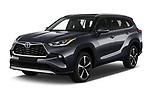 2021 Toyota Highlander Premium-Plus 5 Door SUV Angular Front automotive stock photos of front three quarter view
