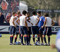 Coach Cabrera talking to the team before their match against Brazil. 2007 Nike Friendlies, which are taking place from Dec. 6-9 at IMG Academies in Bradenton, Fla.