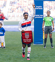 HARRISON, NJ - MARCH 08: Crystal Dunn #19 of the United States waves to the crowd during a game between Spain and USWNT at Red Bull Arena on March 08, 2020 in Harrison, New Jersey.