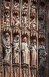 France, Alsace, Department Bas-Rhin, Strasbourg: Strasbourg Cathedral - statues from the Main Portal of the West facade | Frankreich, Elsass, Départements Bas-Rhin, Strassburg: Strassbuerger Muenster - Hochgotische Gewaendefiguren am Hauptportal der Westfassade