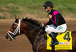 Art Collector, ridden by jockey Brian Hernandez Jr., prepares to run in the Runhappy Ellis Park Derby's 10th race for a $200,000 purse at Ellis Park in Henderson, Ky., Sunday afternoon, Aug. 9, 2020. Art Collector won the race handily. The race is a qualifier for the upcoming Sept. 5, 2020, Kentucky Derby, with 85 points (50-20-10-5) up for grabs.